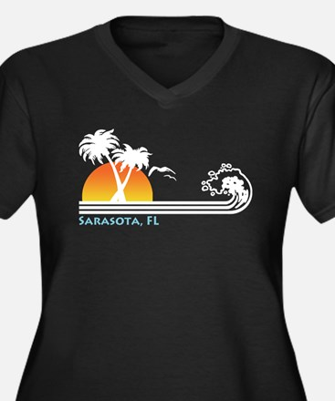 Sarasota, FL Women's Plus Size V-Neck Dark T-Shirt