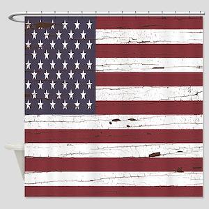 Tree Bark American Flag Shower Curtain
