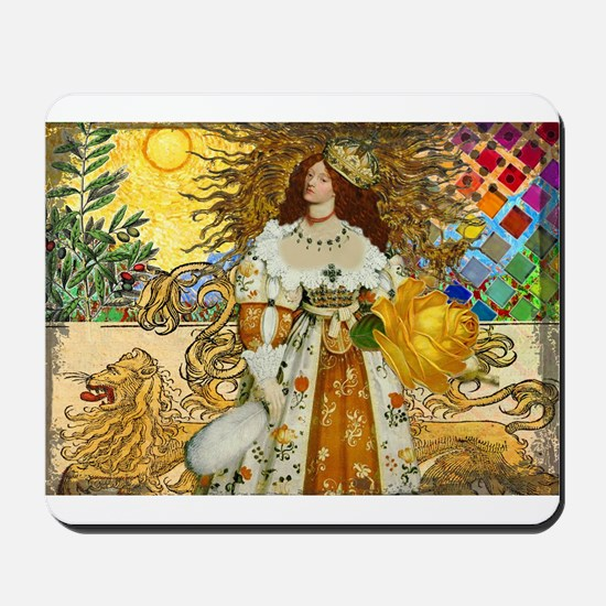 Vintage Lion Leo Princess Gold Whimsical Mousepad