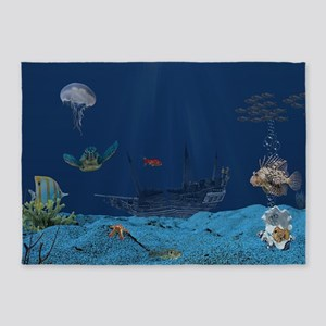Sunken Ship 5'x7'Area Rug