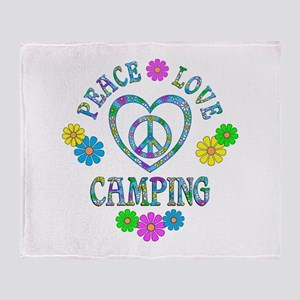 Peace Love Camping Throw Blanket