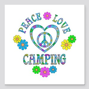 """Peace Love Camping Square Car Magnet 3"""" x 3"""""""