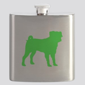 Pug Neon Green 1C Flask