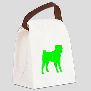 Pug Neon Green 1C Canvas Lunch Bag