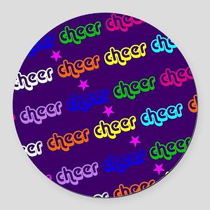 Purple Cheerleader Round Car Magnet