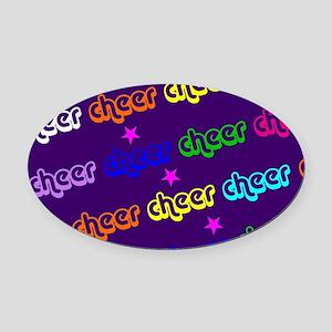 Purple Cheerleader Oval Car Magnet