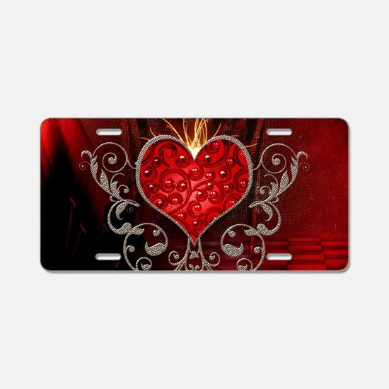 Wonderful heart with wings Aluminum License Plate