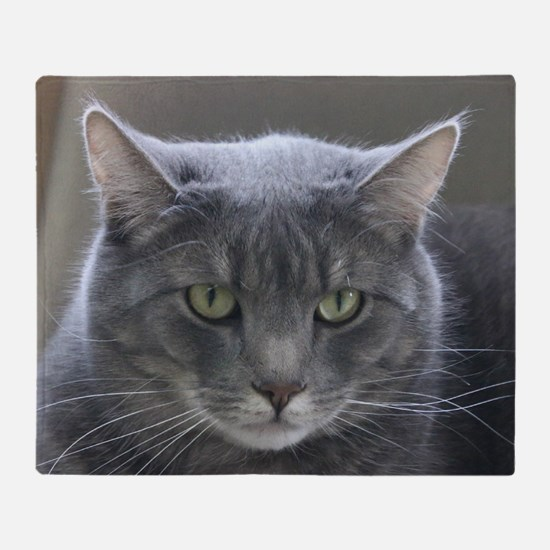 Cute Grey cat Throw Blanket