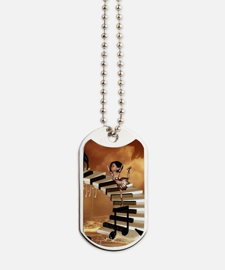 Cute little girl dancing on a piano Dog Tags