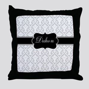 Gray Black Damask Personalized Throw Pillow