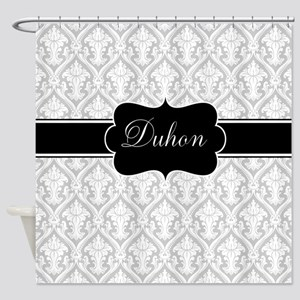 Gray Black Damask Personalized Shower Curtain