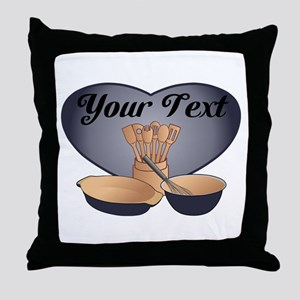 Cook or Chef Personalized Dark Blue Throw Pillow