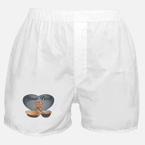 Cook or Chef Personalized Grey Blue Boxer Shorts