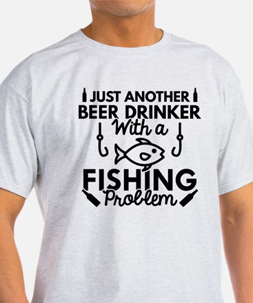 Beer Drinker Fishing White T-Shirt