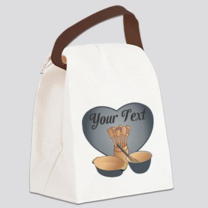 Cook or Chef Personalized Grey Bl Canvas Lunch Bag