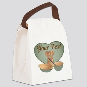Cook or Chef Personalized Sage Gr Canvas Lunch Bag