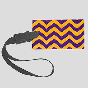 Chevron Pattern: Purple & Gold Z Large Luggage Tag