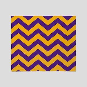 Chevron Pattern: Purple & Gold Zig Z Throw Blanket