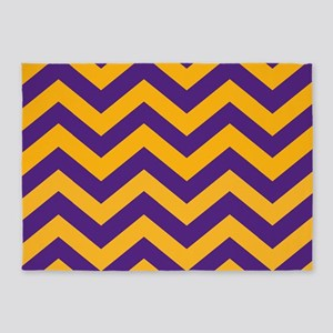 Chevron Pattern: Purple & Gold Zig 5'x7'Area Rug