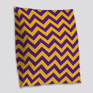 Chevron Pattern: Purple & Gold Burlap Throw Pillow