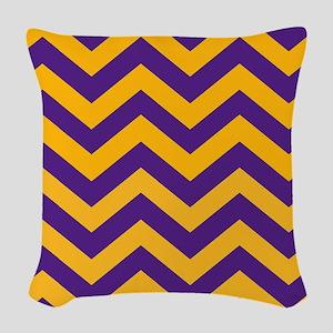 Chevron Pattern: Purple & Gold Woven Throw Pillow