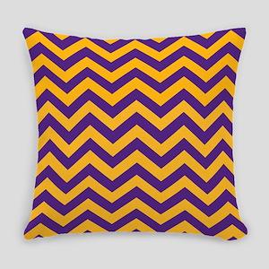 Chevron Pattern: Purple & Gold Zig Everyday Pillow