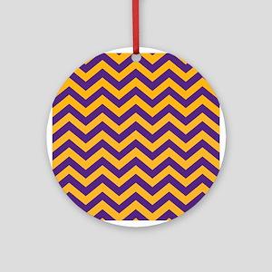 Chevron Pattern: Purple & Gold Zig Round Ornament