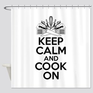 Chef Humor: Keep Calm and Cook On Shower Curtain