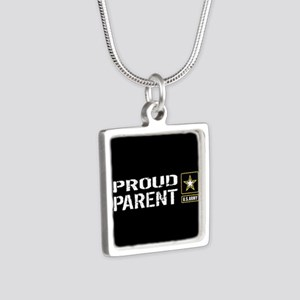 U.S. Army: Proud Parent (B Silver Square Necklace