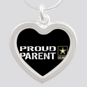 U.S. Army: Proud Parent (Bla Silver Heart Necklace