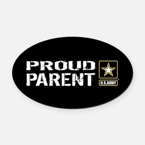 U.S. Army: Proud Parent (Black) Oval Car Magnet