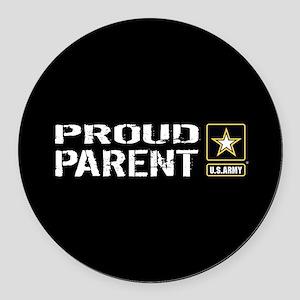 U.S. Army: Proud Parent (Black) Round Car Magnet