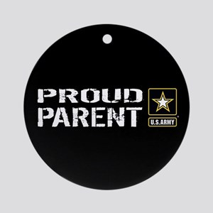 U.S. Army: Proud Parent (Black) Round Ornament