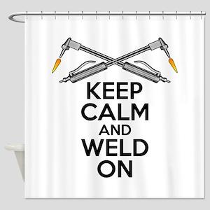 Welding Humor: Keep Calm and Weld On Shower Curtai