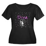 Diva Women's Plus Size Scoop Neck Dark T-Shirt