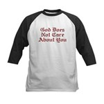 God Does Not Care About You Kids Baseball Jersey
