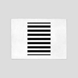 black and white stripe stripes stri 5'x7'Area Rug