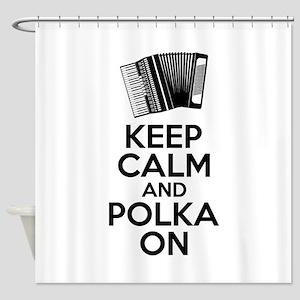 Keep Calm And Polka On Shower Curtain
