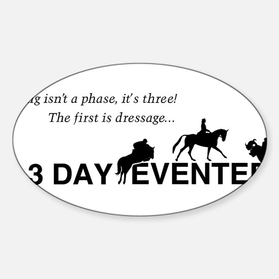Cute Three day eventing Sticker (Oval)