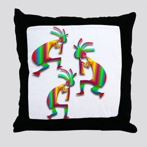 Three Kokopelli #25 Throw Pillow