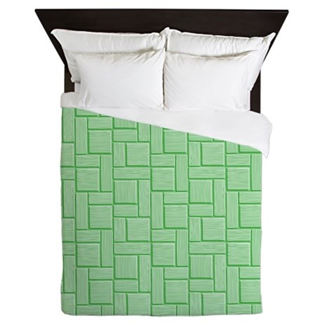 Green Block Queen Duvet
