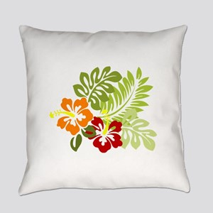 Two Tropical Hibiscus Flowers Everyday Pillow