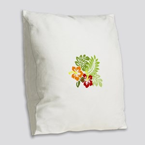Two Tropical Hibiscus Flowers Burlap Throw Pillow