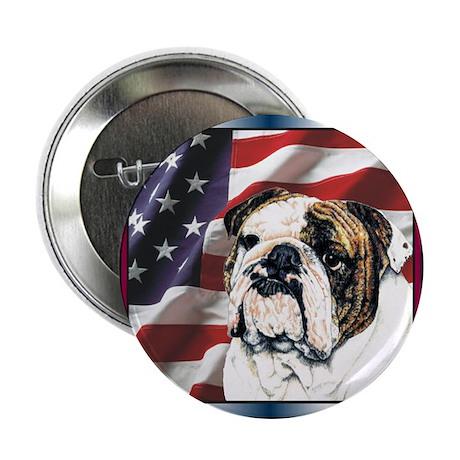 Bulldog Dog Patriotic USA Flag Button
