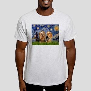 Starry Night & Yorkie Pair Ash Grey T-Shirt