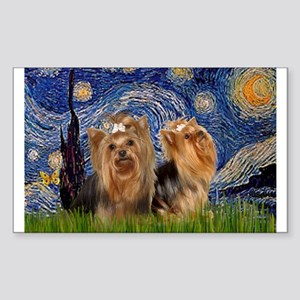 Starry Night & Yorkie Pair Rectangle Sticker