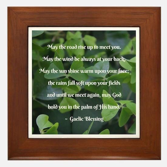 Shamrocks Gaelic Blessing Framed Tile