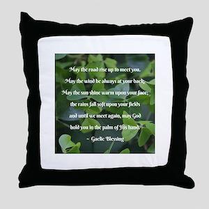 Shamrocks Gaelic Blessing Throw Pillow