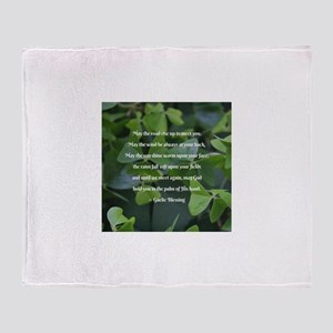 Shamrocks Gaelic Blessing Throw Blanket