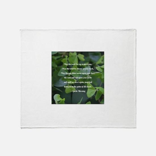 Shamrocks Gaelic Blessing Throw Blanket